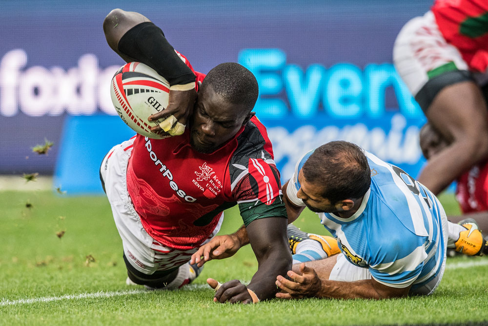 Kenya played out a tight finish against Argentina. Photo: RUGBY.com.au/Stuart Walmsley