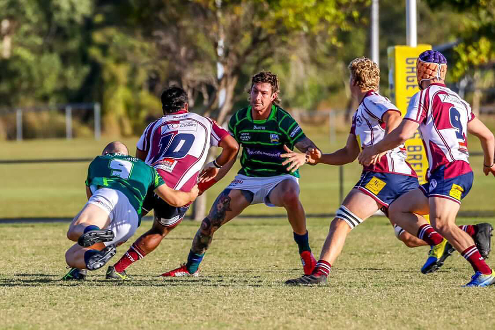 USC's Matt Macaulay lines up in defence for the Barbarians against Noosa. Photo: Adrian Bell Photography