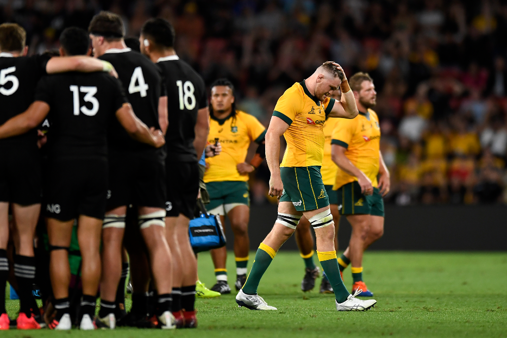 Lachie Swinton will miss the rest of 2020 after his red card on debut for the Wallabies. Photo: Getty Images