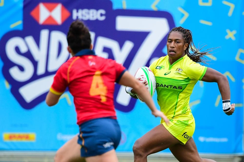 Ellia Green makes a break for Australia. Photo: RUGBY.com.au/Stuart Walmsley