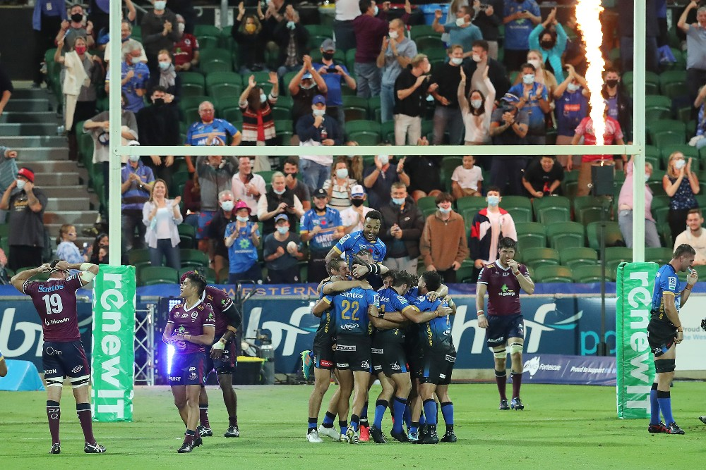 Western Force celebrate an incredible victory over the Reds. Photo: Getty Images