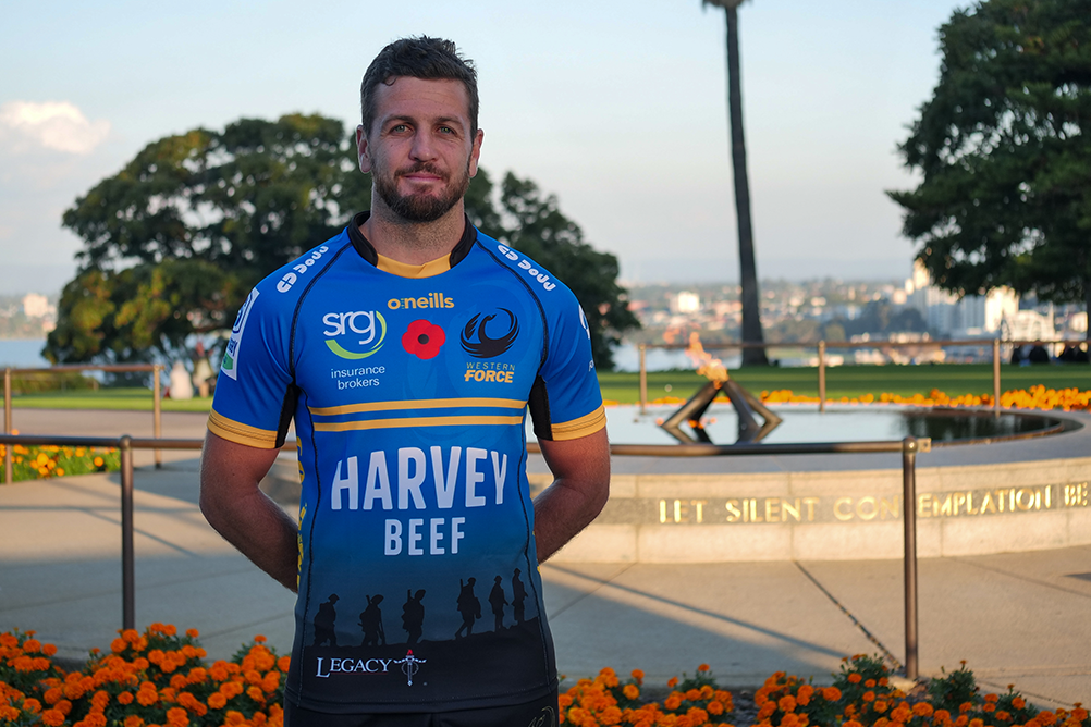 Western Force captain, Ian Prior poses in the Force's Anzac Round Jersey | Supplied