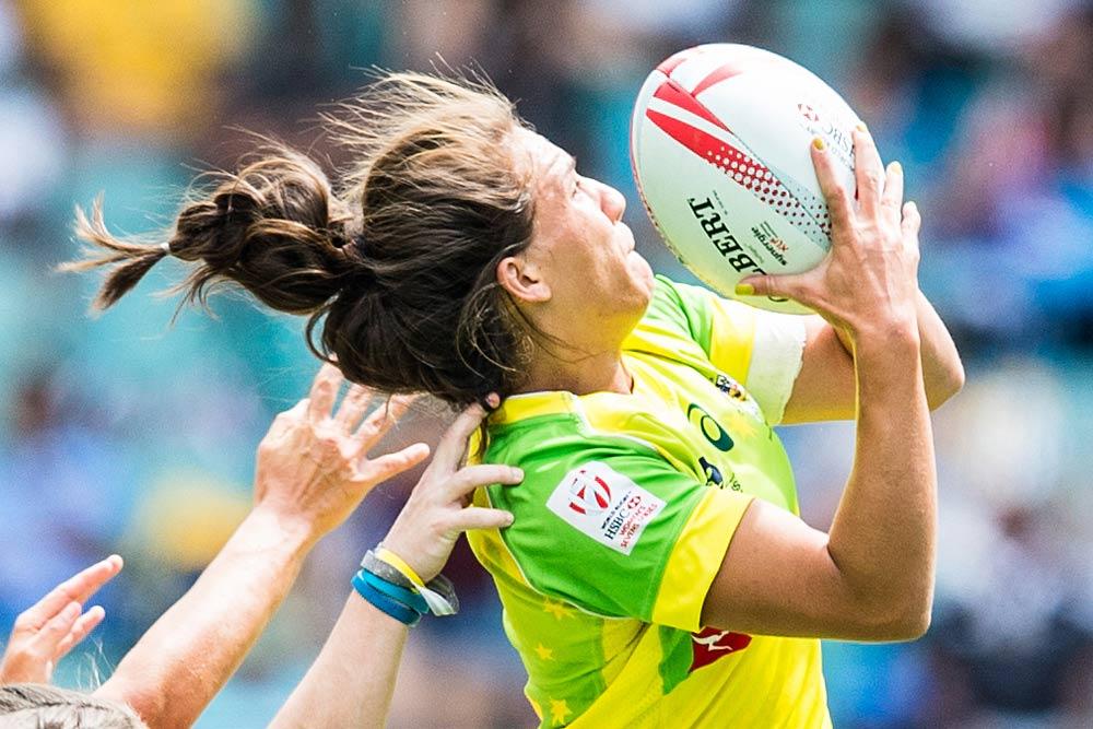 Evania Pelite goes up for a high ball against Ireland. Photo: ARU Media/Stu Walmsley