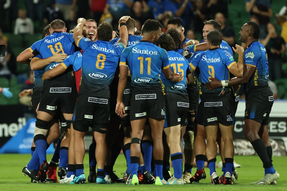 The Western Force celebrate victory over the NSW Waratahs. Photo: Getty Images