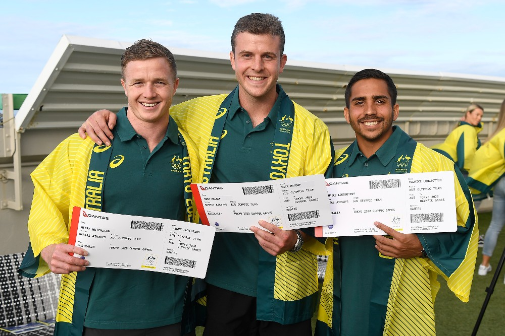 Sevens captain Nick Malouf alongside vice-captains Henry Hutchison and Maurice Longbottom. Photo: Getty Images
