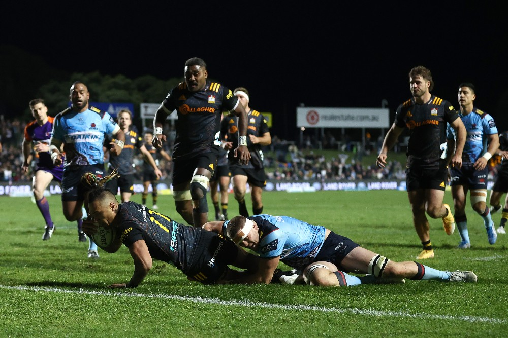 Sean Wainui scores five tries as the Chiefs dominate the Waratahs. Photo: Getty Images