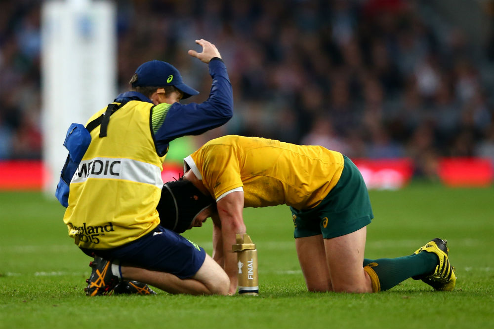 Giteu suffered a head knock in the World Cup final. Photo: Getty Images