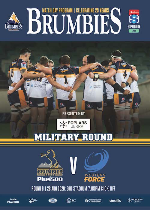 Brumbies Match Day Program Brumbies Vs Force Round 9, 28th August 2020