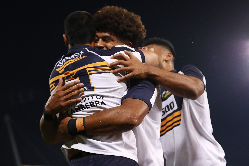 The Brumbies celebrate after booking their place in the final. Photo: Getty Images
