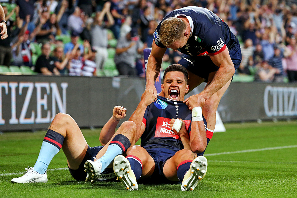 Rebels Captain Matt To'omua celebrates the Rebels victory over the NSW Waratahs at AAMI Park