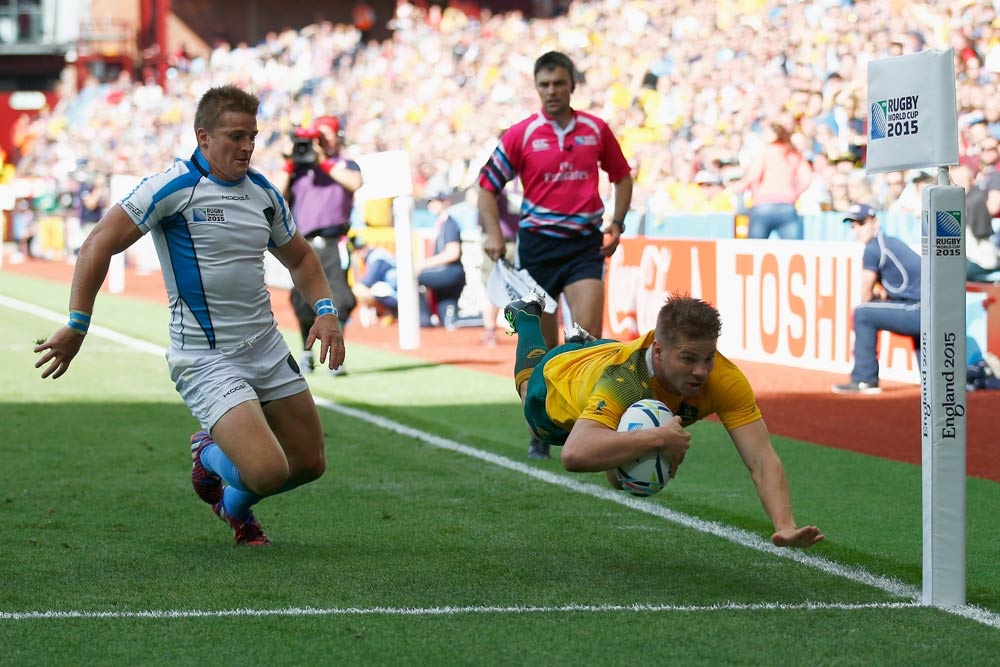 Drew Mitchell became Australia's most prolific World Cup try scorer on Sunday. Photo: Getty Images