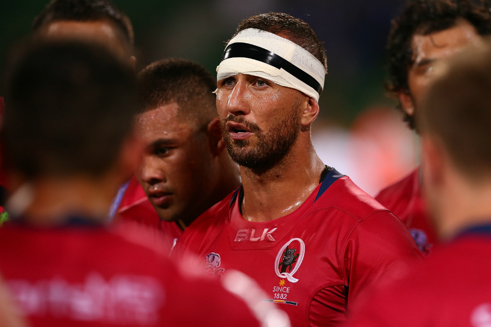 Quade Cooper addresses the Reds after their loss last night. Photo: Getty Images