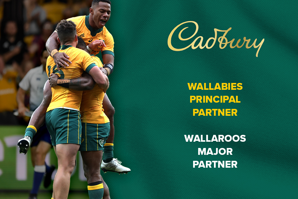 The Cadbury logo take pride of place on the front of the Wallabies jersey for Test matches and on training apparel for the next five years.
