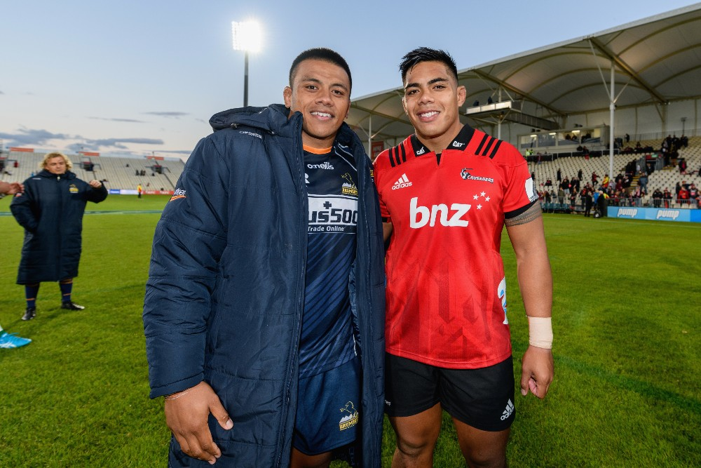 The battle between brother Allan and Michael Alaalatoa adds another layer to the Brumbies-Crusaders rivalry. Photo: Getty Images