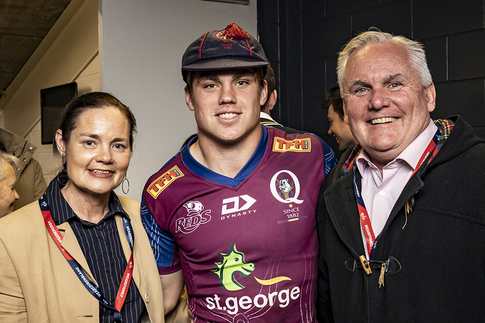 Mac Grealy with his parents after his Super Rugby and Queensland debut.