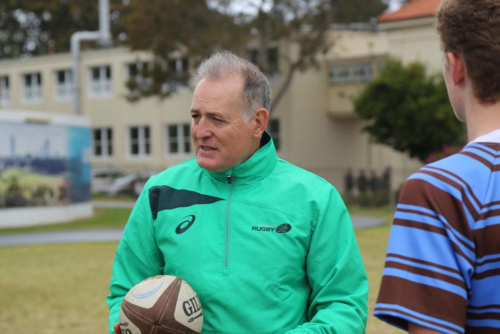 David Campese runs a clinic at Sydney Boys' High. Photo: RUGBY.com.au