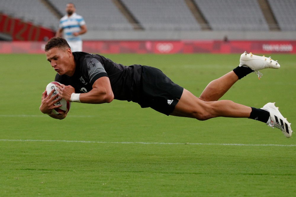 New Zealand's William Warbrick scores against Argentina on Day 1 of Tokyo 2020 (Photo Credit: Mike Lee)