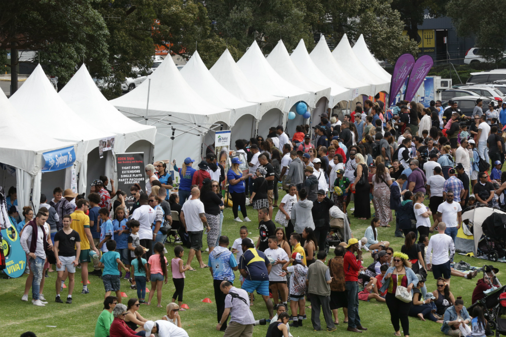 There were long lines for lunch at Concord Oval for Pacific Island Round celebrations. Photo: AJF Photography