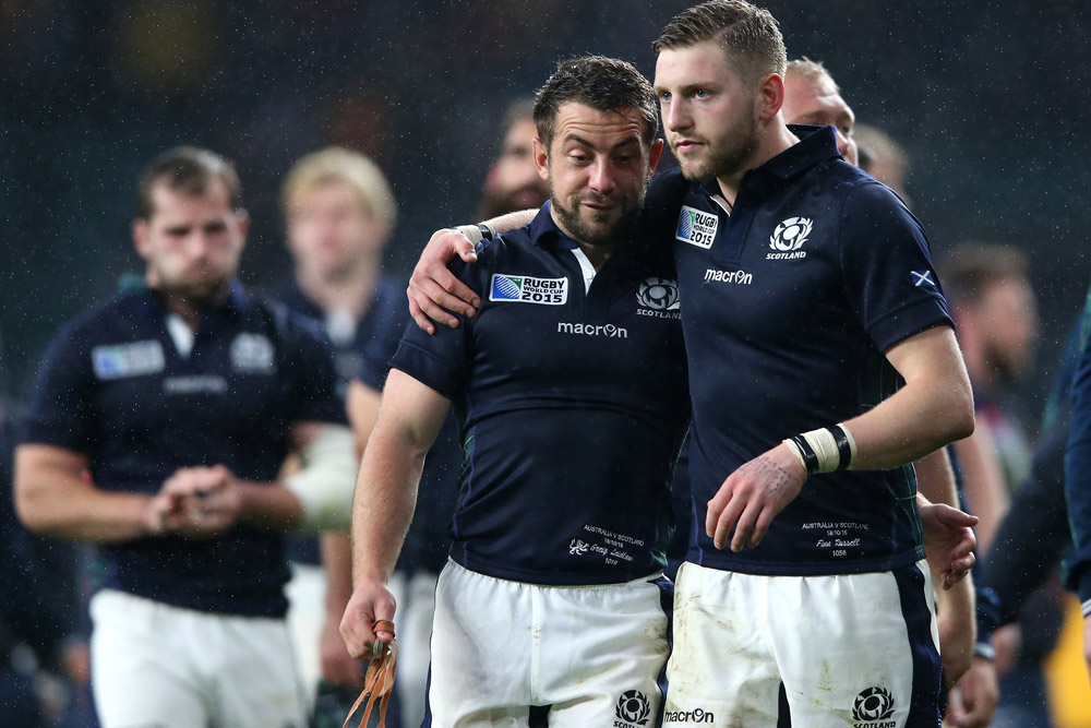 Scotland captain Greig Laidlaw and flyhalf Finn Russell after the 2015 RWC quarter-final. Photo: Getty Images