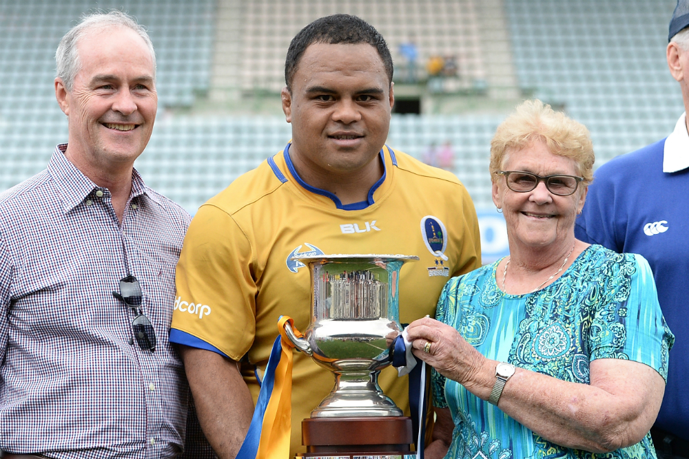 Brisbane City skipper Sam Talakai holding the Andy Purcell Cup. Photo: Getty Images