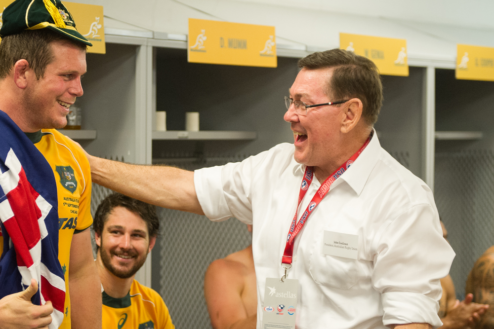 Former Rugby Australia President John Coolican presents Toby Smith's Wallabies cap. Photo: Stuart Walmsley