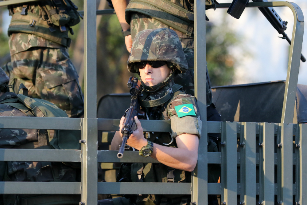 Brazil's Army keeping a close eye on the Athletes' Village. Photo: ARU Media