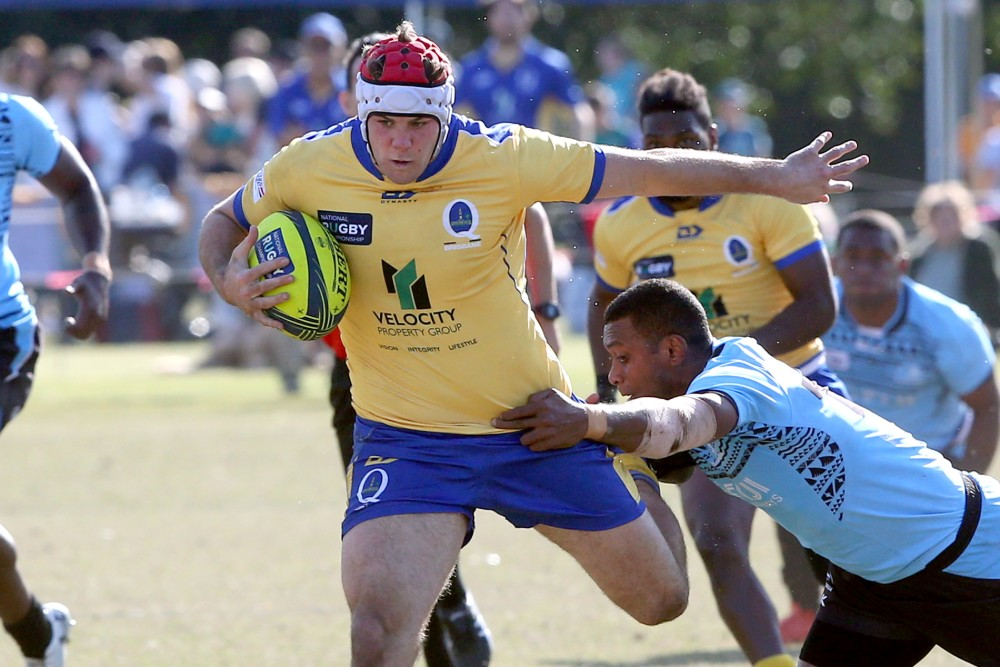 Brisbane City captain Fraser McReight charges through a gap in his side's Round 1 NRC clash against Fijian Drua. Photo: QRU Media/Sportography