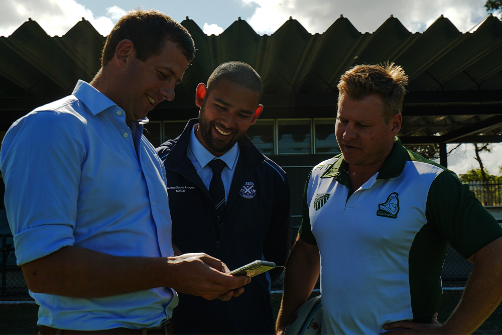 Greg Mumm guides Andrew Bobadilla and Kurt Vilo through the Positive Coaching Platform