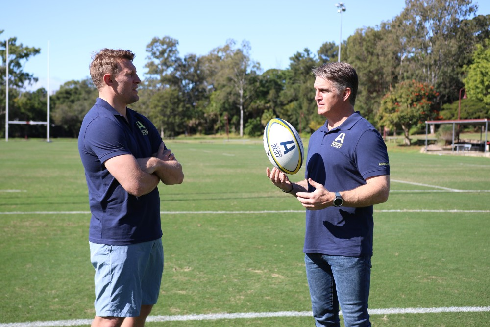 Lachie Turner and Tim Horan backing the bid for the 2027 Rugby World Cup. Photo: Tom Kennedy