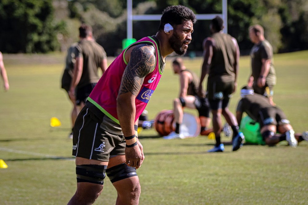 Sitaleki Timani admits the training camp has been taken to another level in the fight for positions. Photo: Andrew Phan/Wallabies Media