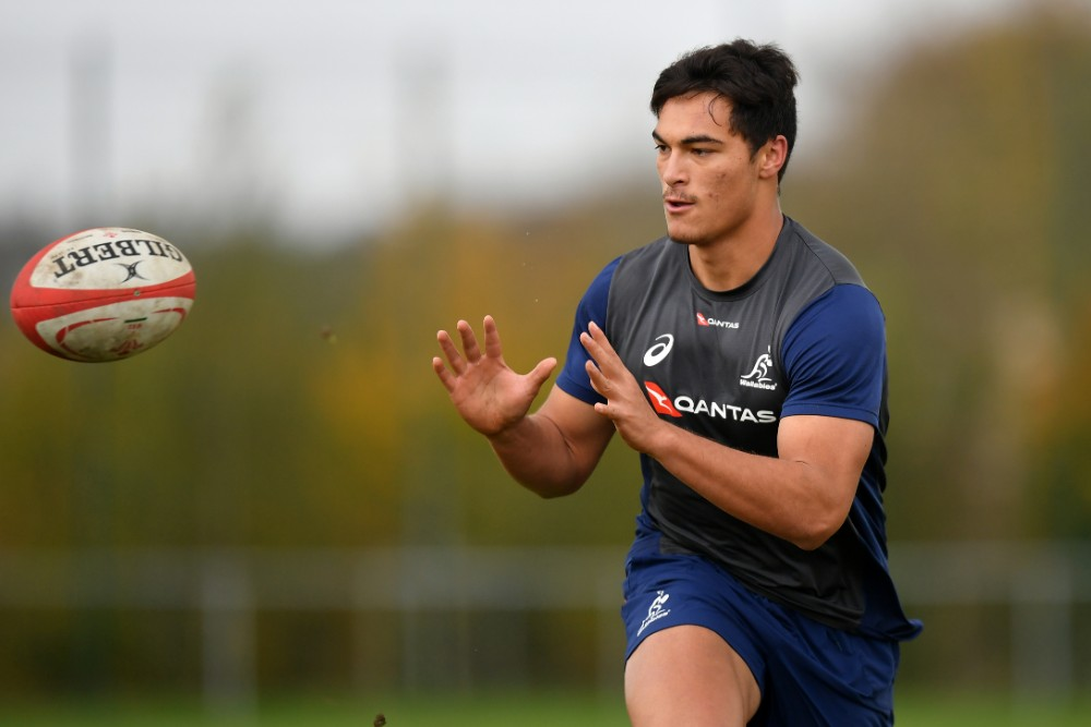 Jordan Petaia trains with the Wallabies on last year's Spring Tour before being denied a Test debut due to injury. Photo: Getty Images