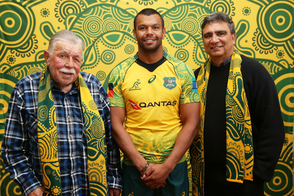 Lloyd McDermott (left) with Kurtley Beale and Gary Ella at the confirmation of the Wallabies Indigenous jersey. Photo: Getty Images