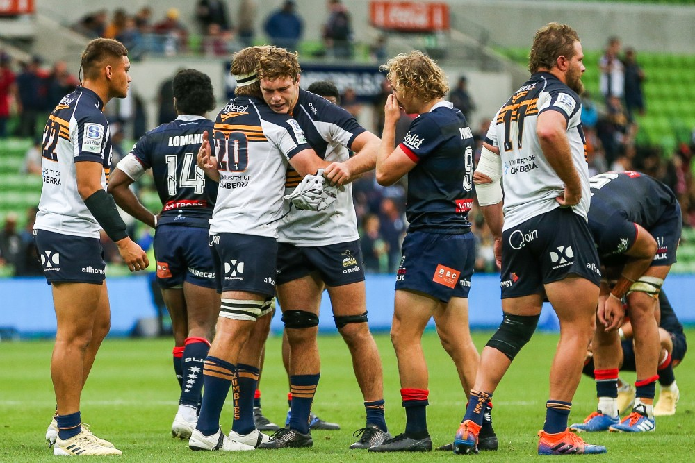 The Brumbies celebrate victory during their round Nine Match with the Rebels. Photo: Getty Images