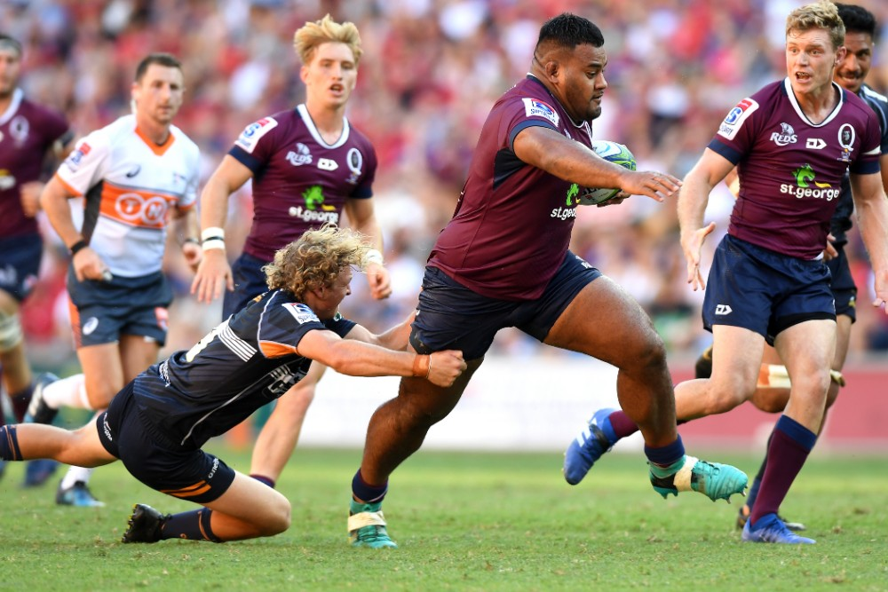 Taniela Tupou in action in the Reds' win against the Brumbies at Suncorp Stadium. Photo: Getty Images