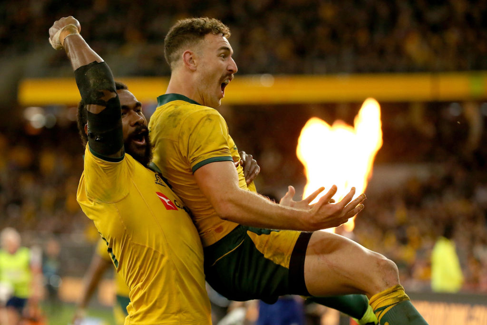 Big celebrations after the Qantas Wallabies score another try during the 2019 Bledisloe Cup