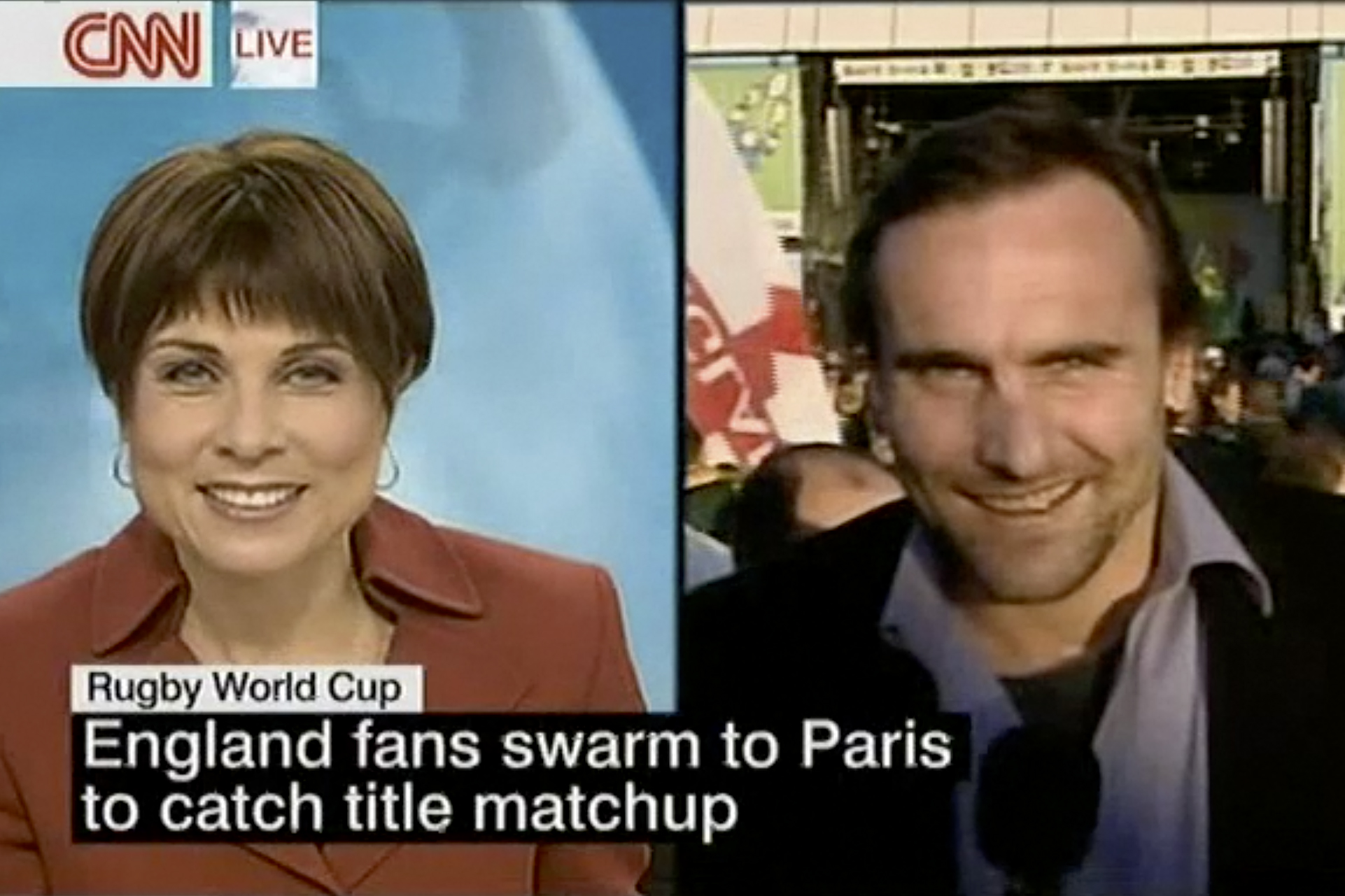 A video still from Ware's coverage of the 2007 Rugby World Cup.