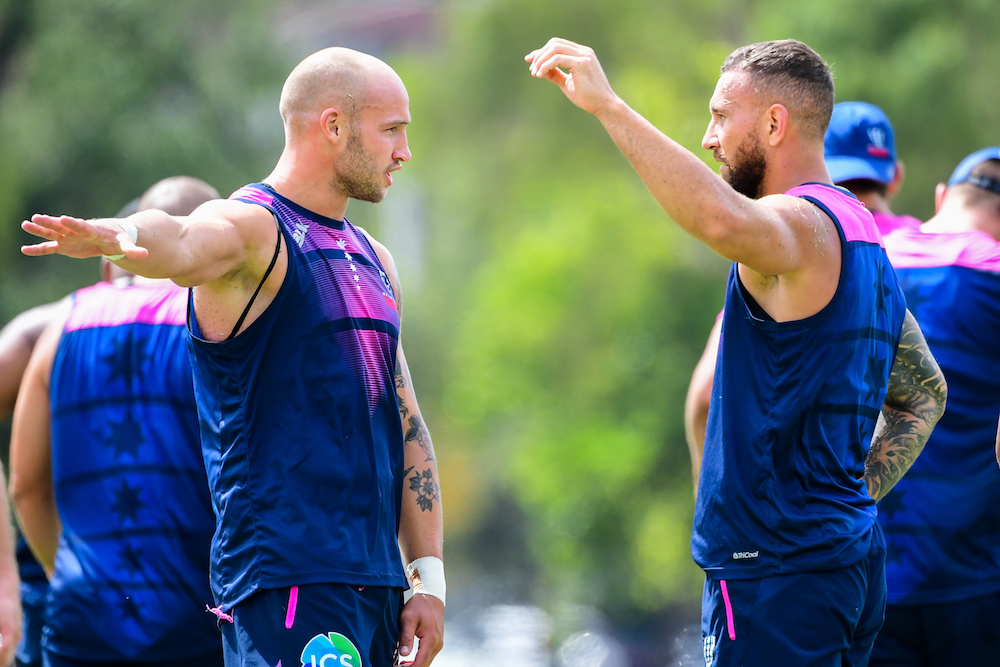Quade Cooper and Billy Meakes have struck a strong connection, on and off the field. Photo: Stu Walmsley/RUGBY.com.au