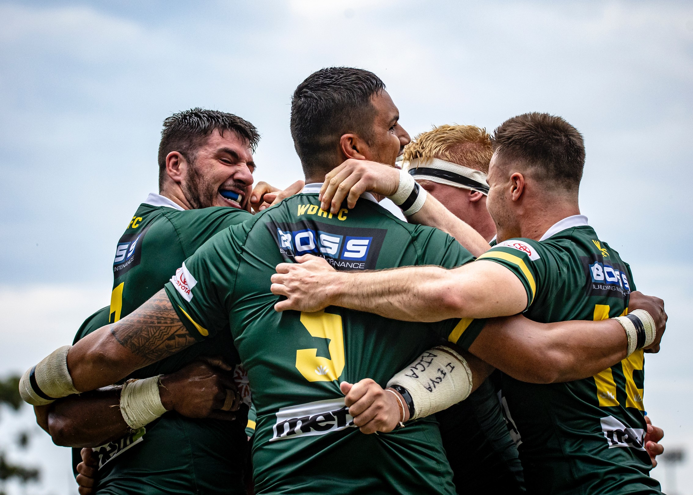Wests celebrate a try against Brothers at Crosby Park. Photo: Brendan Hertel, QRU