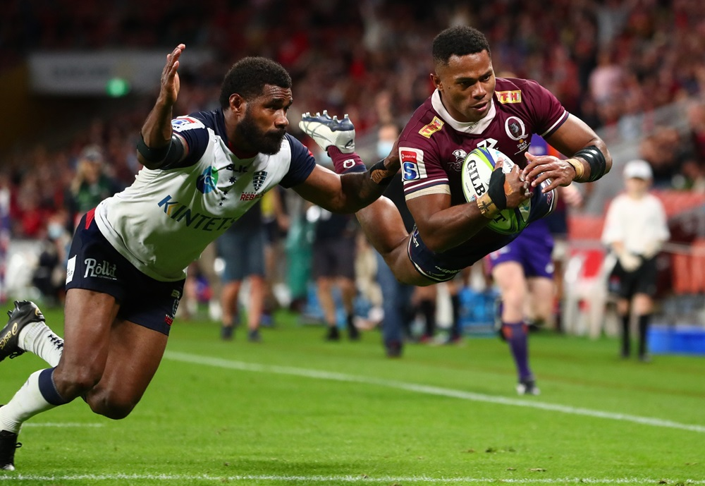 Filipo Daugunu's form has been rewarded after being named in Dave Rennie's Wallabies squad. Photo: Getty Images