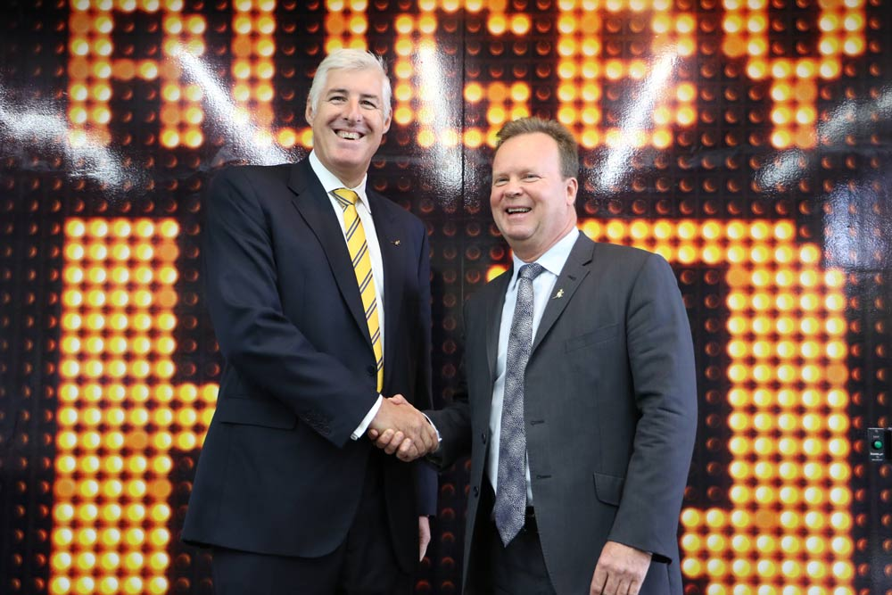 Bill Pulver and Cameron Clyne announced a five-year plan for Rugby on Tuesday. Photo: ARU Media