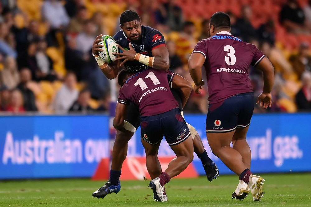 Isi Naisarani takes the ball to the line for the Melbourne Rebels. Photo: Getty Images