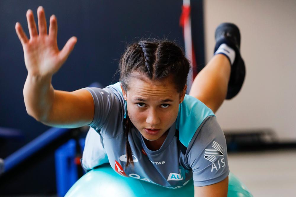Page McGregor in the gym. Photo: Karen Watson