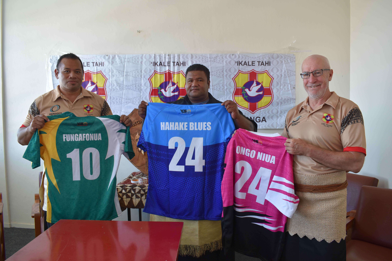 Tonga Rugby Union Board members Aisea Aholelei, Maluafisi Faekanono and CEO Peter Harding at the launch of the centenary celebrations tournament (credit: Elenoa Gee, Matangi Tonga)