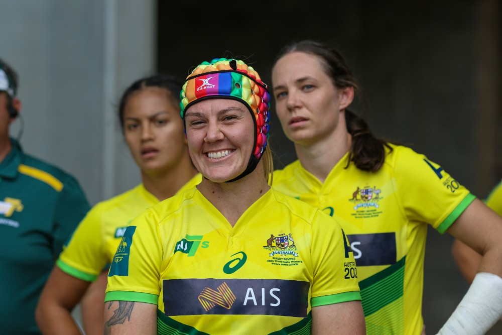 Australia co-captain Sharni Williams' headgear has become synonymous with the Sevens circuit. Photo: Supplied