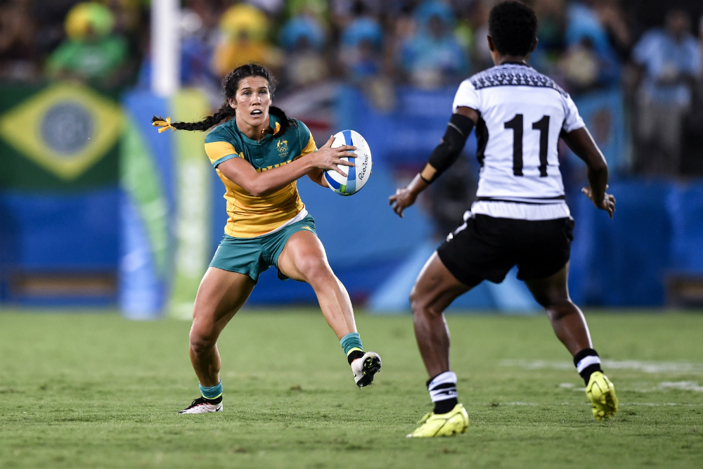 Charlotte Caslick grabbed her fourth Olympic try. Photo: AFP