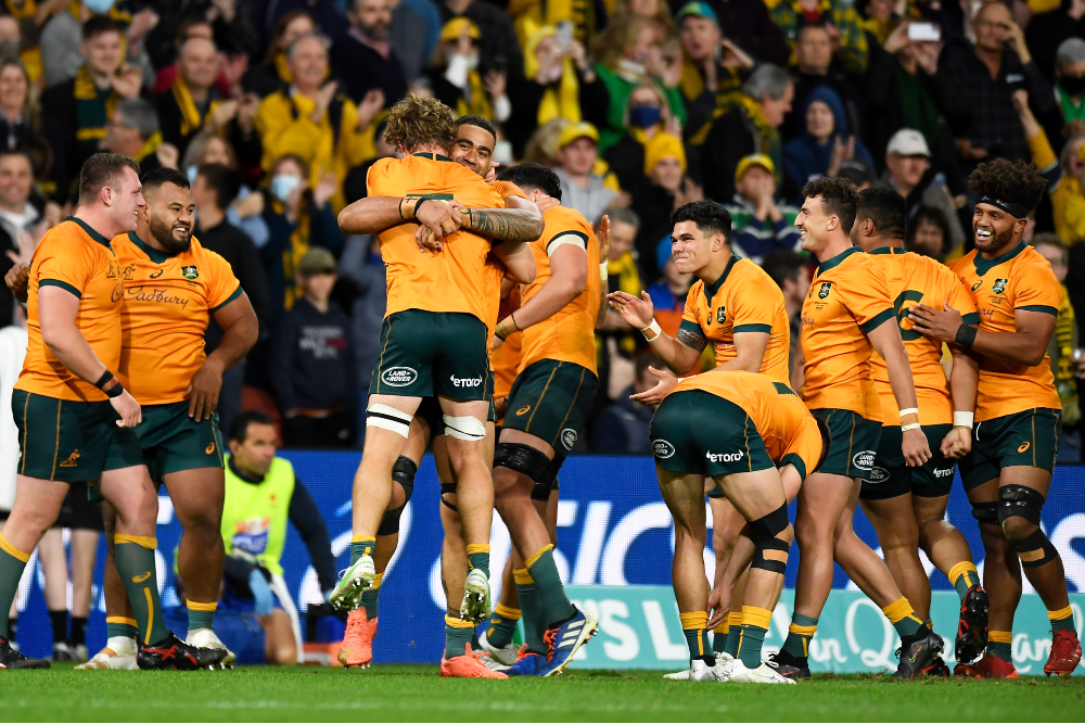 The Wallabies celebrate a famous win over France. Photo: Getty Images