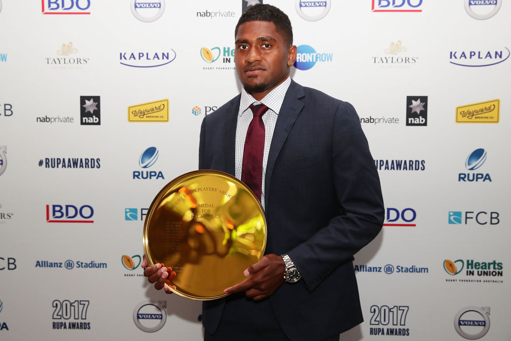 Isi Naisarani won the 2017 RUPA Medal of Excellence. Photo: Getty Images