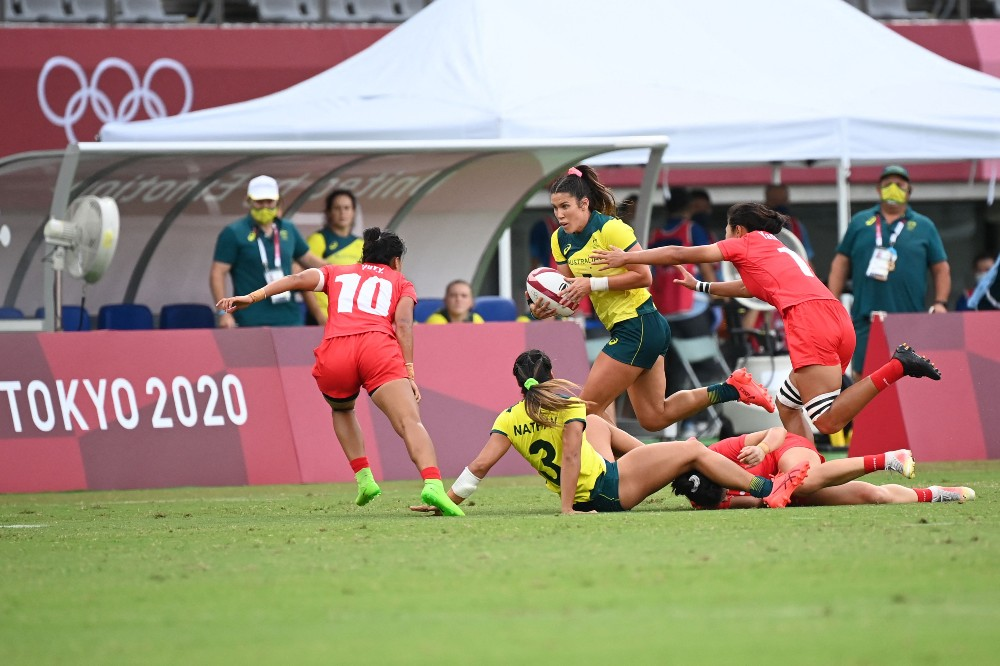 Charlotte Caslick helped Australia to victory over Japan. Photo: Getty Images