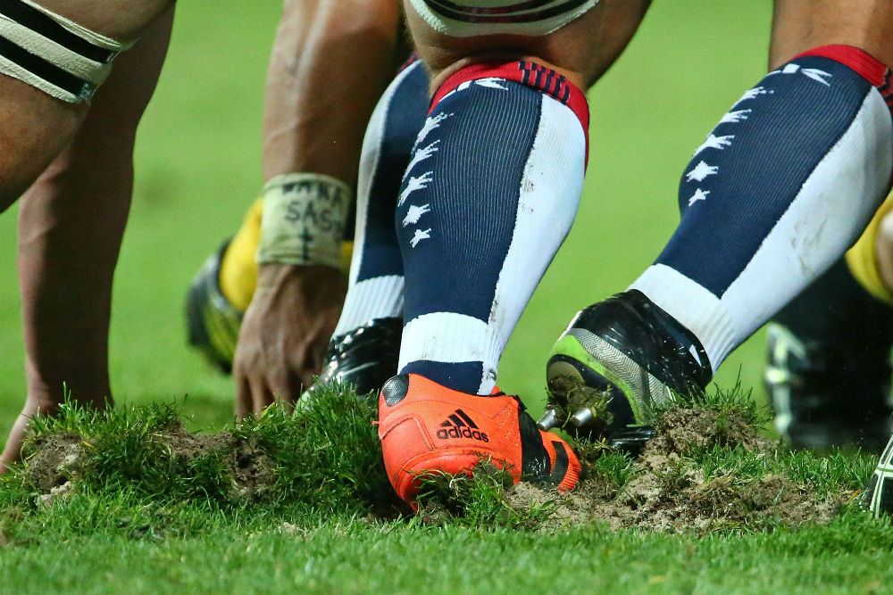 The AAMI Park turf struggled to hold up during scrum time.