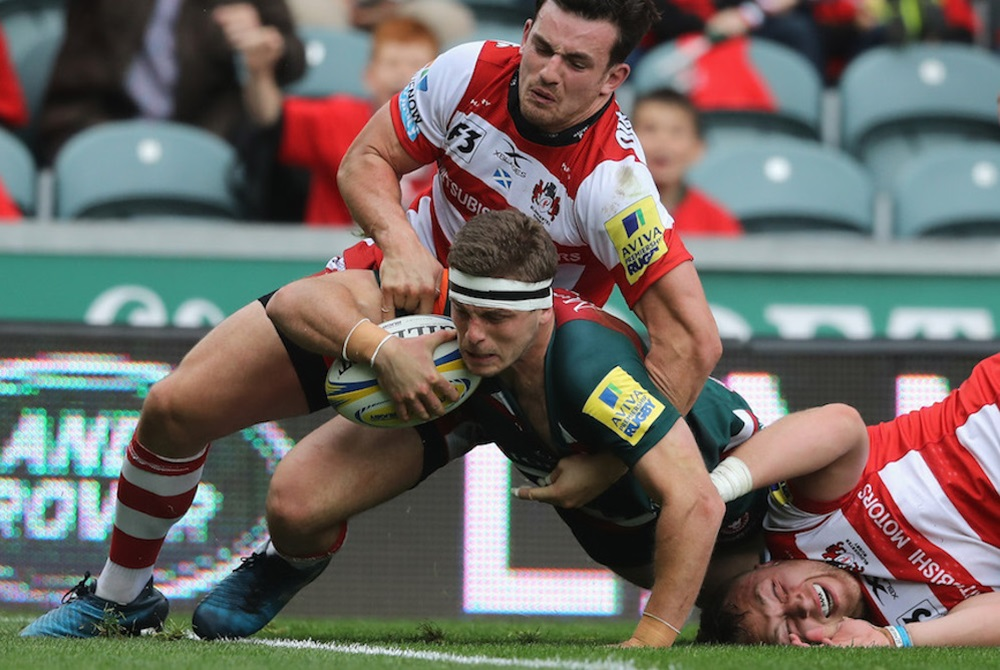 Nick Malouf scores for Leicester against Gloucester. Photo: Getty Images